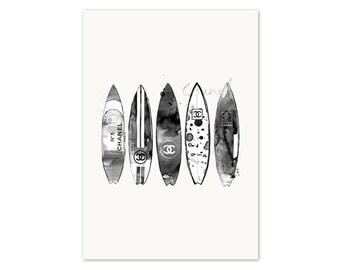 Chanel Surfboards Watercolour Painting + Illustration Fine Art Print - Home Decor - Wall Art - Fashion Art Print - Scandi Home