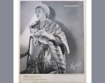 Mink Ad - 1940's I Magnin Advertising for Silverble Mutation Mink