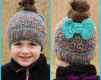 Pony Tail Hat in Child and Adult Size Multi Color with Teal Bow Winter Hat / Mom Bun Hat / Pony Tail Hat / Hole Hat