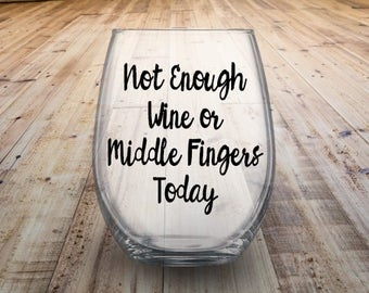 Middle Finger Stemless Wine Glass