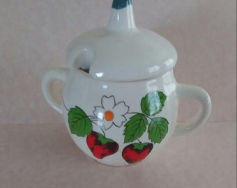 Vintage Ceramic Sugar Bowl / Marmalade/ Mustard Pot with Lid