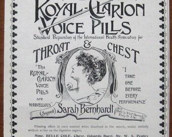 Royal-Clarion, 1899, vintage, ad, original, voice pills, medicine, Sarah Bernhardt, English, advertisement, free shipping, paper, ephemera
