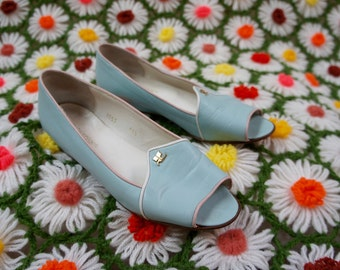 COURRÈGES PARIS 1960's Baby Blue Leather Sultan Slippers with Wedge Heel, made in Italy
