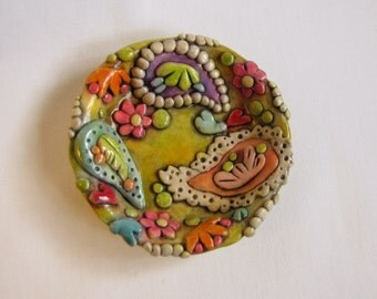 Paisley Ring Dish, Boho Paisley Trinket Dish, Jewelry Holder, Colorful Boho Ring Dish