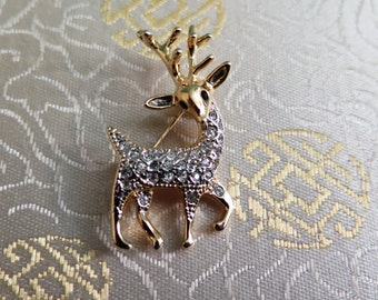 Reindeer Brooch - Deer Brooch - Vintage Brooch - Christmas Brooch - Pave Set Rhinestone Brooch - Xmas Gift - Gift for Her - Stocking Stuffer