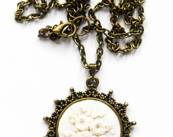White Roses Hand Embroidered Necklace   Sun Pendant Necklace   Modern Embroidery Floral Necklace   Hand Embroidered Flower Jewelry Wedding