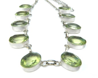 Vintage Green Peridot Glass Sterling Silver Necklace 1970s Jewelry Collectible For Women Mexico Silver Old World Style August Birthstone