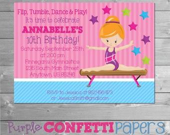 Gymnastics Birthday Invitation, Gymnastics Invitation, Gymnastics Party, Gymnastic Birthday Invitation, Gymnastic Invitation, Printable