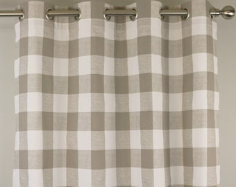 Ecru Taupe Beige White Buffalo Check Curtains - Grommet - 84 96 108 or 120 Long by 24 or 50 Wide Optional Blackout Cotton Lining