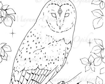 The Wise One - digital stamp, colouring page, printable, instant download