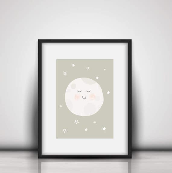 Baby I Love You To The Moon And Back Tan Pastel White Boy/Girl Soft and Cute Nursery Art Illustration Print - Digital Instant Download