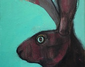 Pink Moon Hare. Acrylic and mixed media painting.