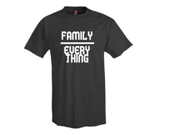 Family Over Everything Shirt - T-Shirt. Long Length Tee. Black, White, Grey.