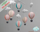 pastel hot air balloons baby mobile - baby mobile - peach blue rose gold