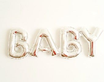 BABY balloon silver mylar - baby shower birth pregnancy announcement gender reveal - Air Fill Only