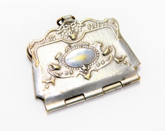 Antique Silver Coloured Tiny Purse Shaped Stamp Holder Vintage Pendant Charm (c1900s) - no chain