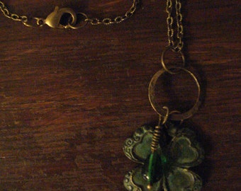 Verdigris Shamrock Necklace with Green Drop Charm on an Antique Bronze Chain