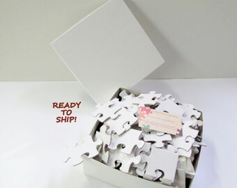 XL Guest Book Puzzle Large Wedding your choice of 150 or 200 Pieces / White Puzzle Pieces / Unique White Wedding Guest Book Puzzle