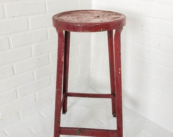 Vintage Red Metal Shop Stool Chair Chippy Paint Industrial Furniture