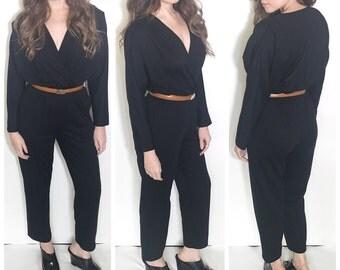 Vintage 80s black wrap front jumpsuit pantsuit romper size 8