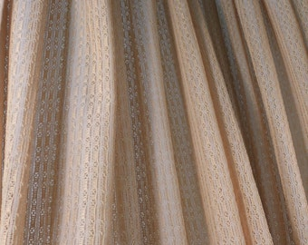 Pair of Lacy Cream Pinch Pleat Drapes Open Woven Lace Mid Century Curtain Panels Eames Era Drapery Boho Hippie Airy