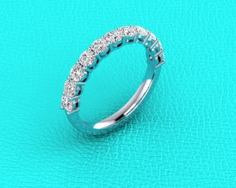 14K white gold shared prong double gallery