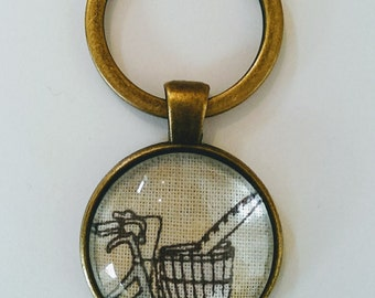 Bicycle Keyring,  Cream Bicycle with Basket and Baguette Design Keychain, Antique Bronze Keyring, Glass Fronted Keyring, Bicycle Gift