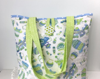 Mommy Diva Baby Bag - Baby Blues Quilted Daycare Bag - Quilted Diaper Bag