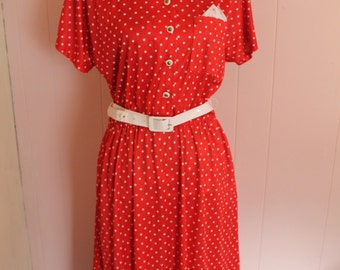 Vintage 80's Women's belted red & white Polka dot Dress
