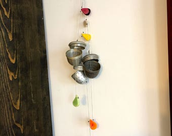 Shabby Chic Chimes, Tea Ball Chimes, Repurposed Art, Tea Infuser Mobile, Silver chimes, Garden Decor, Whimsical Bell Chimes, Upcycled Art