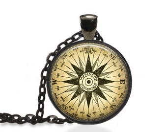 Marine Compass Necklace, Compass Jewelry, Nautical Directions Pendant [A98]