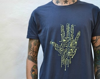 Geek Computer Circuit Board T-Shirt, Nerd Geek Tshirt Gift, Men's Tech Gift, Silkscreen Hand Printed Screen Print T-Shirt