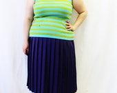 Plus Size - Vintage Blue & Green Stripe Sweater Knit Tank Top (Size 12/14)