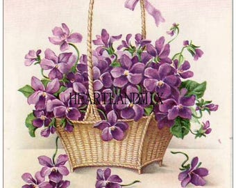 Basket of Pretty Purple Violets Art Digital Printable Image Download for Framing, Crafts