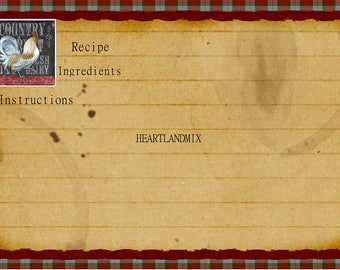 Printable Recipe Card Download Rustic, Primitive Recipe Cards, Farmhouse Country, Country