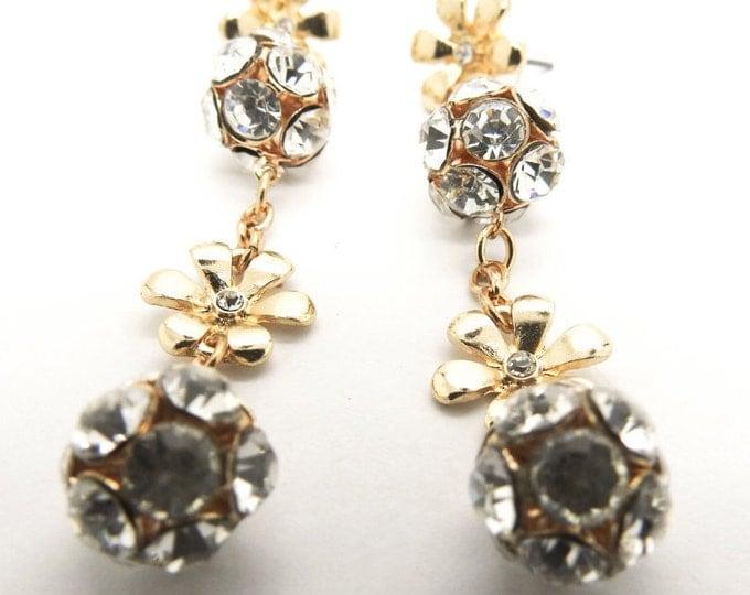 EXTRA LONG DANGLE earrings with rhinestone, sparkly long sexy earrings, gift idea earrings evening women, long drop earrings, holiday gift