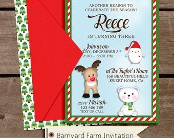 Christmas Wonderland Birthday Party Invitation