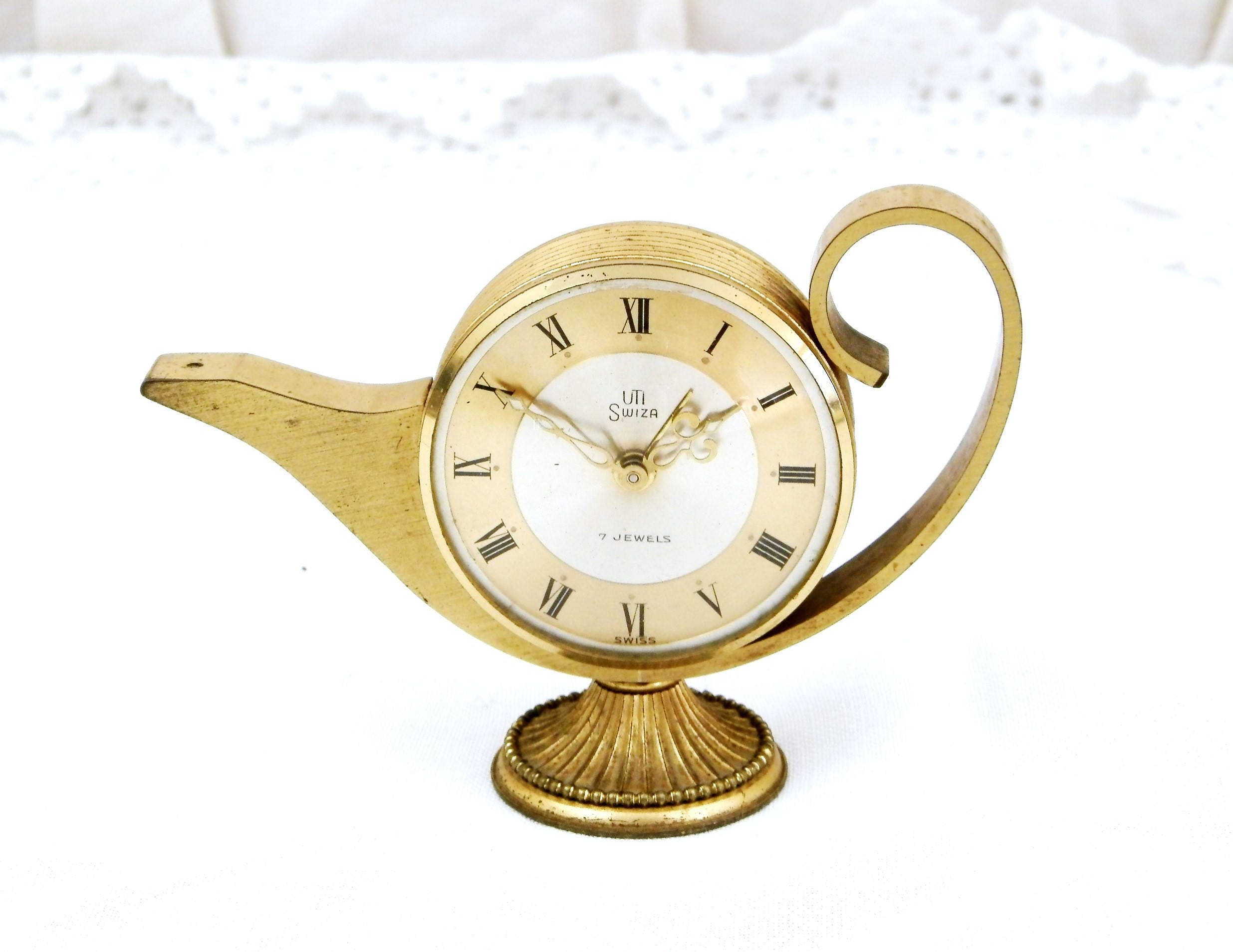 working vintage alarm clock swiss swiza mid century 7 jewels gold 1950s mechanical windup clock retro bedroom decor brocante timepiece