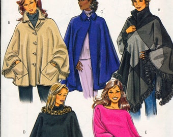 Butterick sewing pattern - ladies warm winter coat poncho - extra small, small, medium