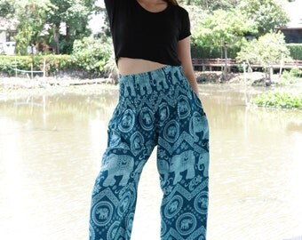 Elephant pants /Hippies pants /Harem pants Yoga pants Comfy pants one size fits turquoise