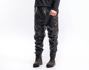 Leather drop crotch pants / Drop crotch pants / Mens leather pants / Black minimalist jodhpurs / Black drop crotch / Parachute track pants