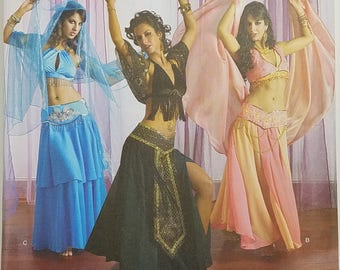 Misses' Belly Dance Pants, Skirt, and Top Costume Pattern. Uncut. Size HH 6, 8, 10, 12. Simplicity 2941.