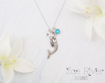 Personalized birthstone, mermaid necklace. Silver mermaid necklace. Elegant and dainty