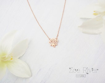 Rose gold or silver or gold lotus necklace. Rose gold lotus necklace. Silver lotus necklace.
