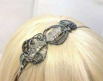 Silver and Quartz Crystal Steampunk Headband