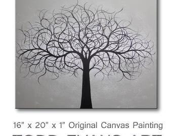 Abstract Art Canvas Art Tree of Life Wall Art Gray Wall Decor Canvas Art Tree Paintings of Trees Wall Hanging 16x20 ORIGINAL PAINTING