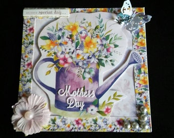 Handmade mothers day card/flowers/watering can,mothers day flowery card, gardening watering can pretty mum card