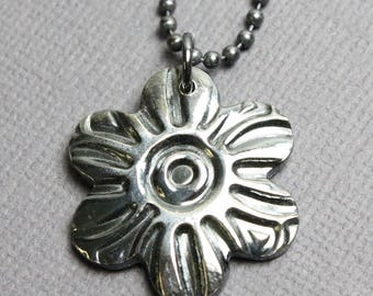 Sterling Silver Flower Pendant, Flower Pendant, Flower Necklace, Sterling Silver Pendant, Flower Jewelry, Kathy Bankston, Pendant