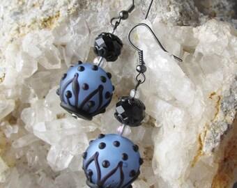 """Hand-Made Artisan Lamp Work Art Glass Dangle Earrings, """"Black & Blue Belles"""" #109"""