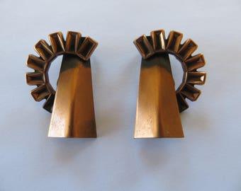 Vintage 1950's/1960's Renoir copper geometric modernist clip on earrings mid century